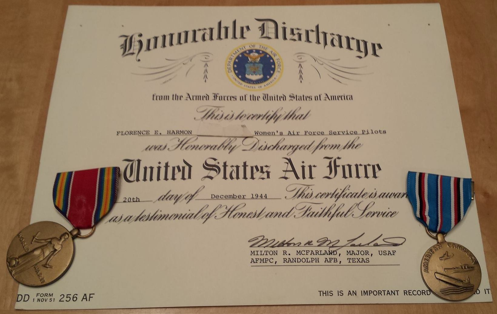 Elaine Harmon's Honorable Discharge & Service Medals