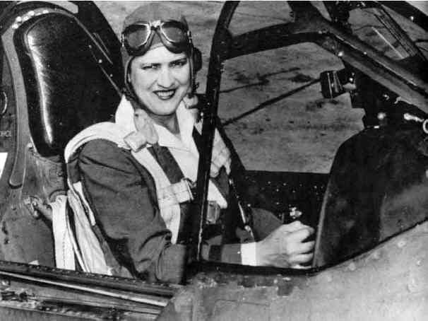 Jackie Cochran at the controls of P-40